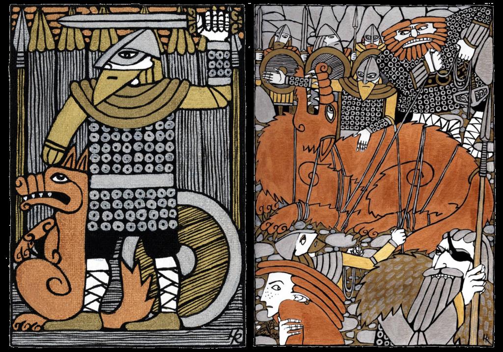 Тюр и сцена связывания Фенрира, художник hellanim | Блог Катерины Нистратовой о Рунах